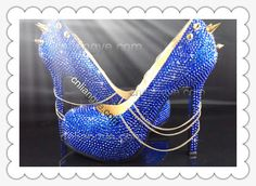 Rock Punk Gothic Blue Crystal Spike and Chains Shoes