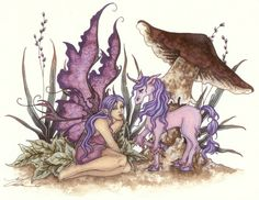 Unicorn & Fairy by Amy Brown