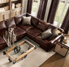 Luxury Leather Sectionals Original Leather L Sectional Luxury Sofa Sectionals Interior Decorating Brown Leather Couches Leather Sofa Set Living Room Remodel, Home Living Room, Living Room Decor, Living Room Furniture Sets, Furniture Stores, Apartment Living, Bedroom Furniture, Sofa Design, Furniture Design