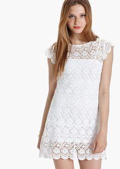 Vestido corto flocado GAEL blanco.Etxart&Panno-Tienda Online Oficial