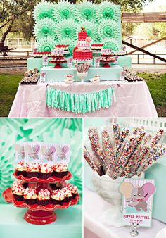 Super cute details in this Girly Dumbo Circus First Birthday Party! #first #birthday #dumbo #circus #party #mint #pink #details #decor