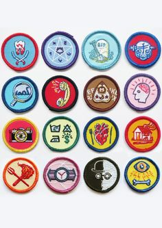 Alternative Scouting for Girls and Boys Merit Badges - FULL SET OF 16 Based on a comic strip from my Threnodies book, this is the first set of meri...