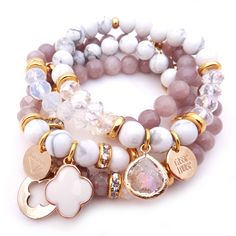 Add a touch of golden glamour to your outfit with the Freya bracelet.  This design has been named after the Goddess of beauty, fertility, love and wealth.Created using beautifully marbled howlite stone and glass crystal beads with feature 24k gold plated Greek spacers and glass crystal pendant.Length: XS - elasticised band will fit 15-17cm wrist All Cassie Louise designs are handmade with love in her home studio on the Mornington Peninsula and are adorned with our signat...