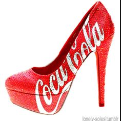 coca-cola high heels is very nice! Don't have in my Cola Collection, but would love to have it! Red Shoes, Cute Shoes, Me Too Shoes, Shoes Heels, Women's Pumps, Shoes Sneakers, Spike Heels, Crazy Shoes, Crazy High Heels