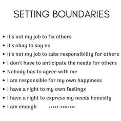 setting boundaries is self respect, and a self love practice. when you set boundaries, your confidence may grow, your throne may expand… Its Okay, Thats Not My, Setting Boundaries, Love Affirmations, My Job, Trauma, Self Love, Respect, No Response