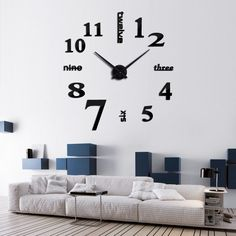 Quartz Fashion Watches 3D Real Big Wall Clock Rushed Mirror Sticker DIY Decor  #joidart #Modern