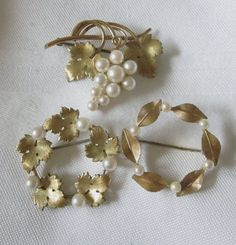 KREMENTZ Pin Brooch Lot of 3 Faux PEARL Gold Tone by jewelryannie, $25.00