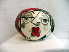 Small Oval Ceramic Pottery VASE Hand painted Picasso Style Lovers Faces, Black, White with Red Accents on Etsy by artistsloftppaquin1 on Etsy