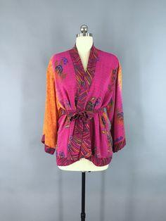 Silk Sari Kimono Cardigan Jacket / Pink & Orange Floral Embroidery #vintagesari #indiansari #sari #kimonocardigan #kimonojacket #kimono #boho #bohemian #wedding #dressinggown #cardigan #jacket #silksari #silk