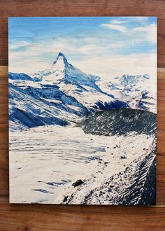 Here's a new idea for displaying pictures: wood photo prints for a vintage look (Matterhorn vertical). Switzerland. By Calm Cradle Photo & Design