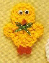 Free Crochet Baby Chick Magnet Pattern  http://www.momsloveofcrochet.com/MagnetBabyChick.html