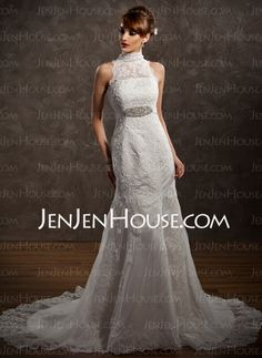 Wedding Dresses - Mermaid High Neck Court Train Satin Tulle Wedding Dresses With Lace Beadwork (002001234) http://jenjenhouse.com/Mermaid-High-Neck-Court-Train-Satin-Tulle-Wedding-Dresses-With-Lace-Beadwork-002001234-g1234