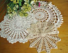 3 Doilies Doily Crocheted Doily Ecru Vintage Doilies  D11 by TreasureCoveAlly on Etsy