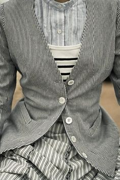 Stripes on stripes on stripes. on stripes. Mode Style, Style Me, Look Fashion, Womens Fashion, Fashion Details, Pattern Mixing, Mode Inspiration, Ladies Boutique, What To Wear