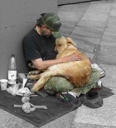 Homeless, loneliness , street life , dog , hug, animal friends