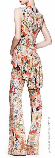 Alexander McQueen Floral-Print High-Low Top & Tabbed Pants http://www.bergdorfgoodman.com/Alexander-McQueen-Floral-Print-High-Low-Top-Tabbed-Pants-Ready-to-Wear/prod93570012_cat322101__/p.prod?icid=&searchType=EndecaDrivenCat&rte=%252Fcategory.jsp%253FitemId%253Dcat322101%2526pageSize%253D30%2526No%253D0%2526refinements%253D&eItemId=prod93570012&cmCat=product