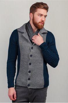Men's Hand Knitted Cardigan XS,S,M,L,XL,XXL jacket Wool Hand Knit sweater b13 #Handmade #Cardigan Hand Knitted Sweaters, Warm Sweaters, Knit Jacket, Wool Cardigan, Stylish Mens Outfits, Wool Pants, Long Sleeve Shirt Dress, Camila, Hand Knitting