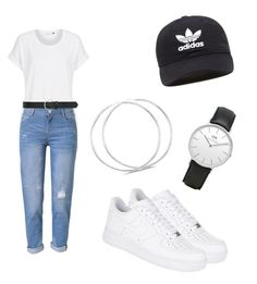 """How To Be Basic"" by itzvictoriadinh ❤ liked on Polyvore featuring WithChic, M&Co, NIKE, Daniel Wellington and adidas Originals"