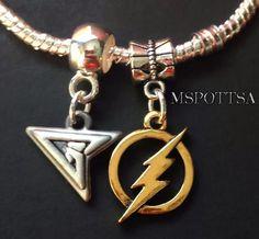 The Flash Green Arrow Silver Bracelet Charms Sliders Spacers Comics Superheroes #Handmade