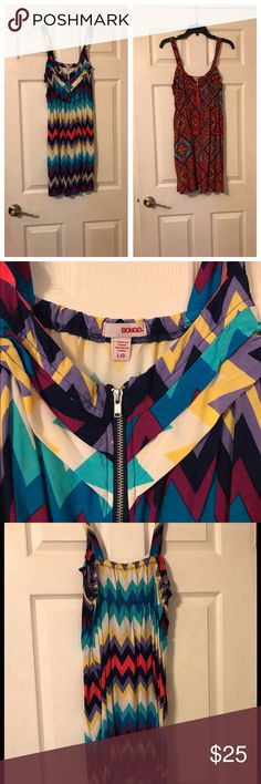 2 like new Bongo mini dresses w/zipper on bust-L 2 like new Bongo mini dresses w/zipper and ruffles on bust-Large- one tribal print and one chevron print BONGO Dresses Mini
