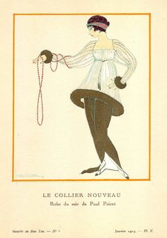 Paul Poiret, in La Gazette du Bon Ton, No. 1, Le Collier Nouveau - Evening Dress, 1914, illustration by Georges Lepape