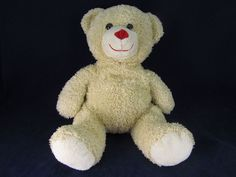 Caltoy Tan Plush Stuffed Teddy Bear VGC Red Nose Soft Cute Animal #Caltoy