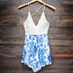 crochet open back blue floral print romper