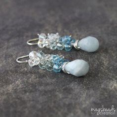 Ombre Blue Earrings Crystal and Stone by magsbeadscreation on Etsy, $54.00