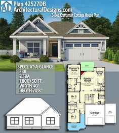 Architectural Designs Craftsman House Plan 42527DB gives you over 1,800 sq ft of heated living space with 3 beds and 2.5 baths . Ready when you are! Where do YOU want to build?  #42527DB #adhouseplans #architecturaldesigns #houseplan #architecture #newhome #newconstruction #newhouse #homedesign #dreamhome #homeplan #architecture #architect #housegoals  #house #home #design #craftsman #cottage #country