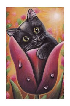 A personal favorite from my Etsy shop https://www.etsy.com/listing/576554245/black-cat-kitten-tulip-spring-acrylic