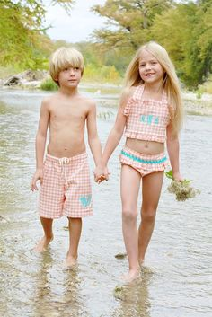 These bathing suits are adorable and stylish for brother and sister. The credit goes to Andrea Brown, owner of Hannah Kate. Learn her story here: http://www.markdown.com/hannah-kate-our-story