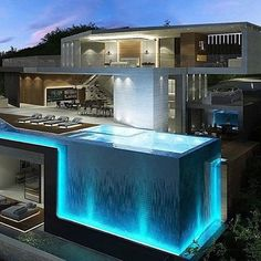 142 stunning modern dream house exterior design ideas-page 4 Dream Home Design, Modern House Design, Cool House Designs, Pool Designs, Luxury Homes Dream Houses, Luxury Life, Modern Mansion, Modern Houses, Dream House Exterior