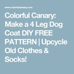 Colorful Canary: Make a 4 Leg Dog Coat DIY FREE PATTERN | Upcycle Old Clothes & Socks!