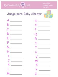 Juego para Baby Shower ABC. #Juegos #de #Baby #Shower #en #Espanol  #Juegos #Imprimibles #Gratis de Baby Shower. Free Printable Baby Shower Game ABC.