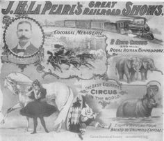 This letterhead of J. H. LaPearl Great Railroad Shows was vintage of 1891. It is in four colors: red, blue, green and black. The title is in blue as well as the word Circus. Red was used for borders, the equestrienne's dress, the clown costume and hippo's mouth. The other colors were blended in to make a very flashy letterhead.