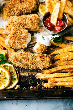 A quick and delicious take on fish and chips -- all baked on just ONE pan. This version is healthier because it isn't baked, but it certainly isn't lacking on flavor! The fries are ultra crispy and flavorful, the fish has a secret hack to make it seem fried, and all prep is done in under 30 minutes. Plus a quick homemade tartar sauce (optional to make) that takes no more than 5 minutes to assemble. From chelseasmessyapron.com