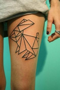 Bunny Rabit Geometric Tattoo #tattooideaslive #geometrictattoo #bunny #rabbit