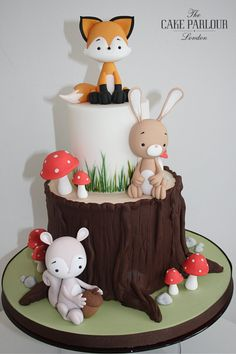 Celebration Cakes - The Cake Parlour Fondant Cakes Kids, Woodland Theme Cake, Baby Birthday Cakes, Animal Birthday Cakes, Fox Cake, London Cake, Fondant Animals, Forest Cake, Girl Cakes