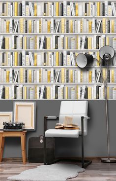 Yellow in décor is happy and chic! Yellow wallpaper dresses your home in sunny hues of optimism, providing an unexpectedly stylish compliment to white, neutrals, wood, and other colors. Gold Wallpaper, Textured Wallpaper, Interior Styling, Interior Design, Under The Tuscan Sun, Bookcase, Wall Decor, Shelves, Extra Image