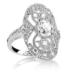 Xavier 2.12ct Absolute™ Sterling Silver Open Filigree Oval Shield Ring at HSN.com.
