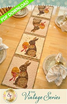The Vintage Series - April Table Runner Pattern - PDF DOWNLOAD: THIS PRODUCT IS A PDF DOWNLOAD that must be downloaded and printed by the customer. A paper copy of the pattern will not be sent to you. Create a darling table runner using your scraps! This Shabby Fabrics Exclusive finishes to 12 1/2