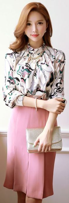 StyleOnme_Pleated H-Line Skirt #pink #pleated #pencilskirt #classy #feminine…
