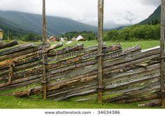 Traditional fence - Norway   ..rh Landscape Walls, Landscape Design, Garden Design, Outdoor Areas, Outdoor Rooms, Front Gates, Garden Architecture, Fence Gate, Rustic Gardens