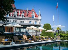 Having heard quite a bit about hotel Château d'Ouchy over the years, I'd always wanted to spend a night as a princess in that castle by Lake Geneva. Lake Geneva, Lausanne, Over The Years, Switzerland, Castle, Europe, Mansions, House Styles, Manor Houses