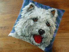 Een persoonlijke favoriet uit mijn Etsy shop https://www.etsy.com/listing/156078438/vtg-cute-doggy-pillow-westie-retro