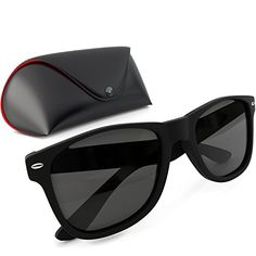 Polarized Wayfarer Sunglasses Set With Case for Men and Women  Uv Protection with Custom Impact Resistant Material  Matte Black Unisex Model By Fashion -- Check out this great product.Note:It is affiliate link to Amazon.