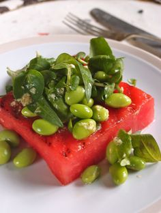 Grilled watermelon with edamame and ginger dressing