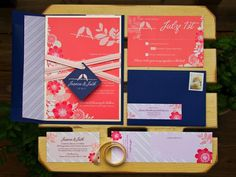Love these navy and coral wedding invitations,but I would use cobalt blue instead of navy.