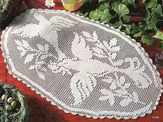 Love doves crochet filet work with diagram