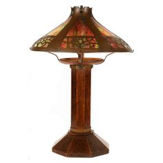 036ebd2d531ad Stickley arts and crafts copper stained glass lamp